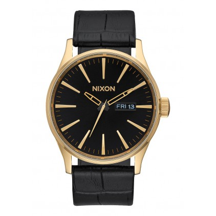 NIXON RELOJ SENTRY LEATHER GOLD/ BLACK GATOR