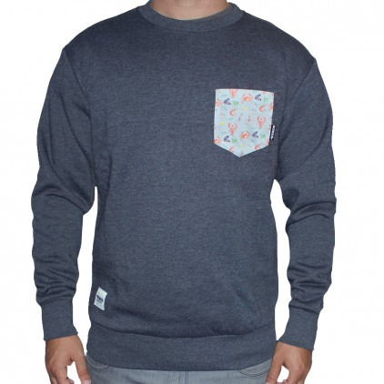 SUDADERA TEIRON CREWNECK POCKET DARK GREY MARISCOS