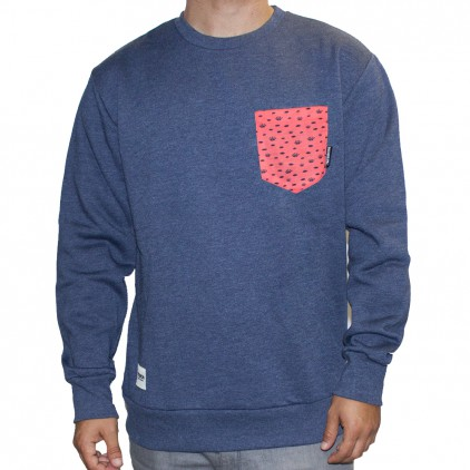SUDADERA TEIRON CREWNECK POCKET HEATHER NAVY OJO CORAL