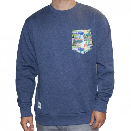 SUDADERA TEIRON CREWNECK POCKET HEATHER NAVY SELVA