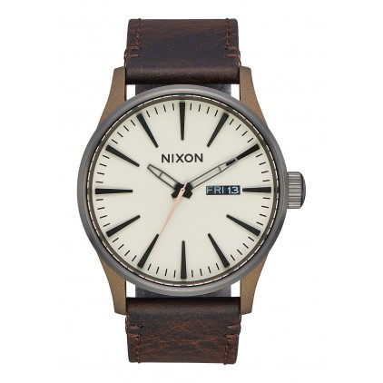 NIXON RELOJ SENTRY LEATHER BRONZE GUNMETAL