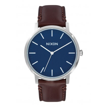 NIXON RELOJ PORTER LEATHER NAVY BROWN