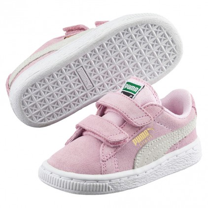 PUMA ZAPAS SUEDE 2 STRAPS INF PINK LADY-TEAM GOLD
