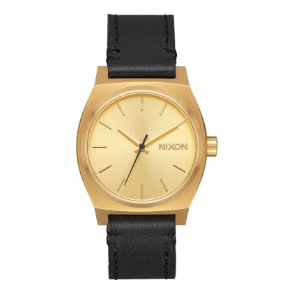 NIXON RELOJ MEDIUM TIME TELLER LEATHER GOLD/ BLACK