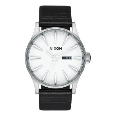 NIXON RELOJ SENTRY LEATHER WHITE/SILVER BLACK