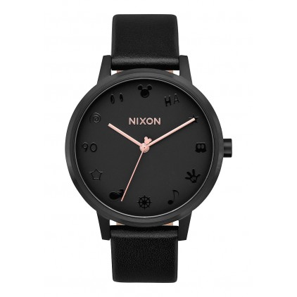 NIXON RELOJ KENSINGTON LEATHER ALL BLACK/ROSE GOLD/MICKEY
