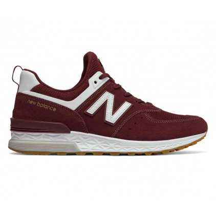 NEW BALANCE ZAPAS 574 SPORT BURGUNDY/WHITE