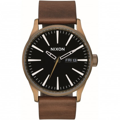NIXON RELOJ SENTRY LEATHER BRASS BLACK BROWN