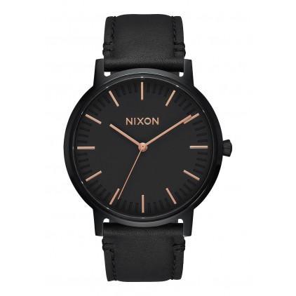 NIXON RELOJ PORTER LEATHER ALL BLACK ROSE GOLD 40MM